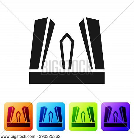 Black Gate Of Europe Icon Isolated On White Background. The Puerta De Europa Towers. Madrid City, Sp