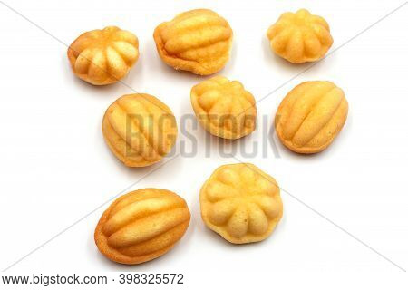 Various Shapes Of Traditional Thai Egg Cake On White Background