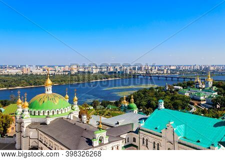 View Of Kiev Pechersk Lavra (kiev Monastery Of The Caves) And The Dnieper River In Ukraine. View Fro