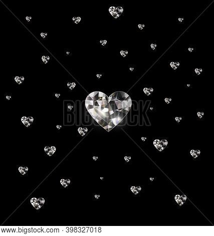 Black Background And Light Jewel Crystals Heart