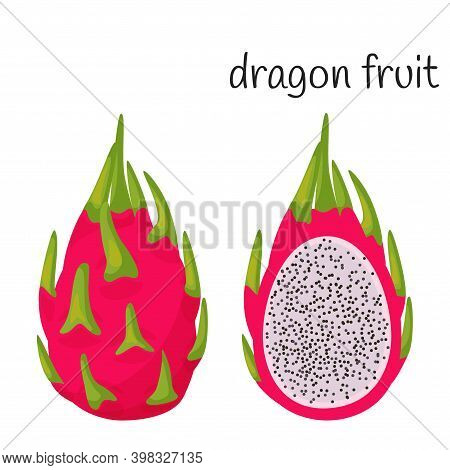 A Whole Dragon Fruit In The Skin With Leaves And Cut Half With Seeds And Pulp. Exotic, Tropical Frui