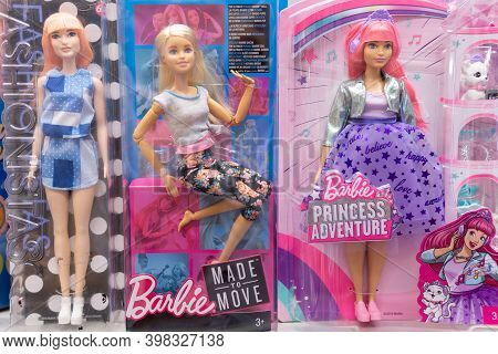 Tyumen, Russia-october 11, 2020: Barbie Doll Made To Move. Selective Focus. Toy On The Shelves Of Th
