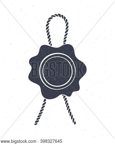 Silhouette Of Vintage Wax Seal Jute Rope. Vector Illustration. Security Stamp With Twine For Retro M
