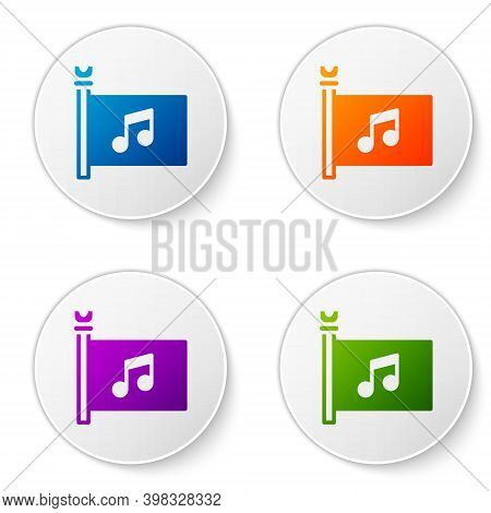 Color Music Festival, Access, Flag, Music Note Icon Isolated On White Background. Set Icons In Circl