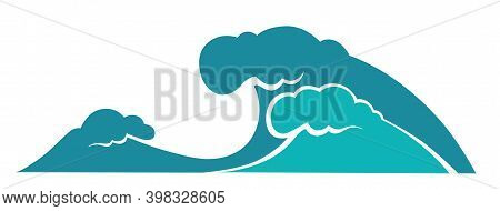Sea And Ocean Water Waves, Stormy Weather Vector