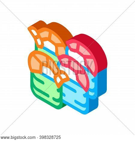 Sushi Roll With Shrimp Icon Vector. Isometric Sushi Roll With Shrimp Sign. Color Isolated Symbol Ill