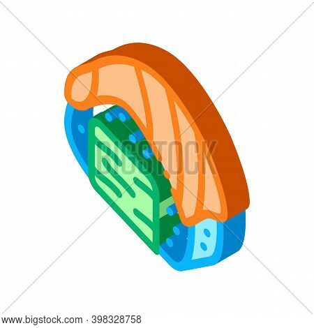 Sushi Roll With Salmon Icon Vector. Isometric Sushi Roll With Salmon Sign. Color Isolated Symbol Ill