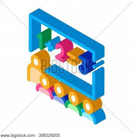 Preschool Class Children Education Mathematics Icon Vector. Isometric Preschool Class Children Educa