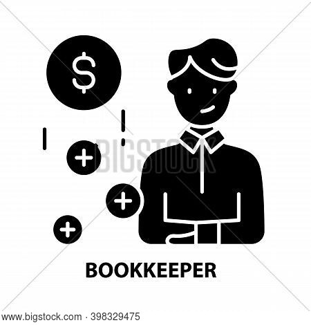 Bookkeeper Icon, Black Vector Sign With Editable Strokes, Concept Illustration
