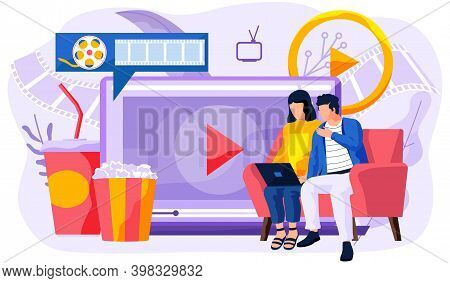 People Near Big Screen With Popcorn Bucket And Drinks. Watch Movies At Home. Online Cinema Concept.