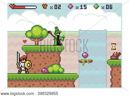 Knight In Armor With A Sword Goes To Slime. Pixel Computer Game Interface. Wizard In Mantle Waiting