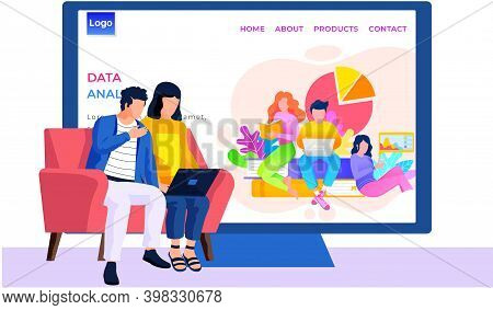 Application For Analysing Data, Internet Shop Website Layout. Online Store Landing Page Template. Pa