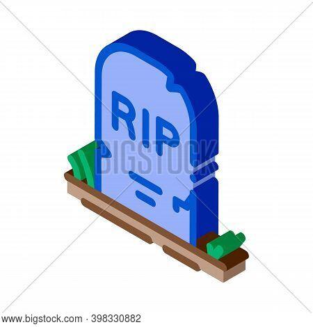 Halloween Rip Tombstone Icon Vector. Isometric Halloween Rip Tombstone Sign. Color Isolated Symbol I