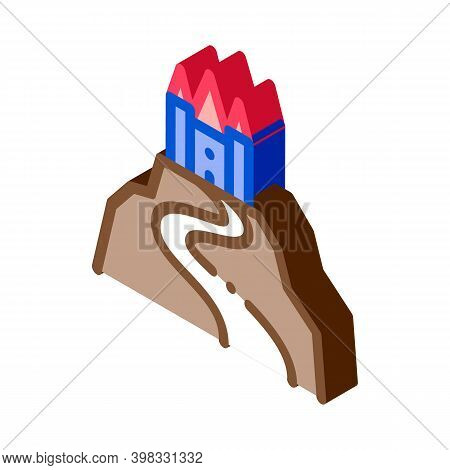 Castle On Hill Icon Vector. Isometric Castle On Hill Sign. Color Isolated Symbol Illustration