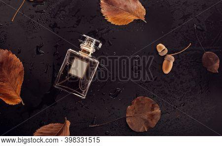 Glass Perfume Bottle On Bronze Dry Leaves