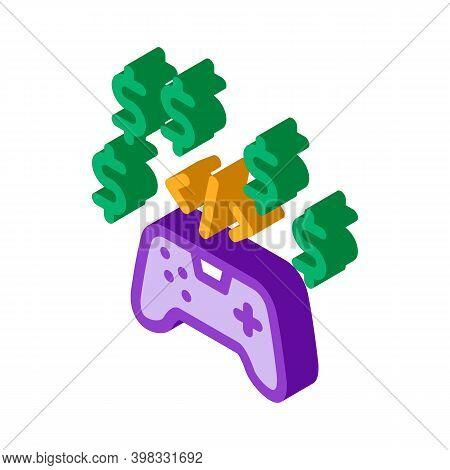 Game Coding And Sell Icon Vector. Isometric Game Coding And Sell Sign. Color Isolated Symbol Illustr