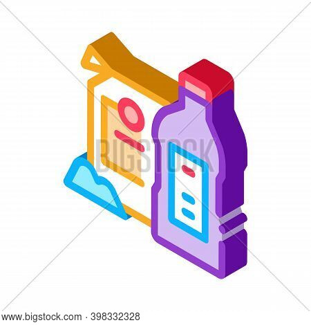 Drain Cleaning Agent Icon Vector. Isometric Drain Cleaning Agent Sign. Color Isolated Symbol Illustr