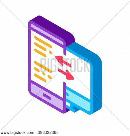 Adaptive Site For Computer Screen And Phone Icon Vector. Isometric Adaptive Site For Computer Screen