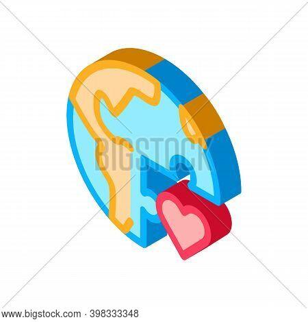 Tolerance Piece Of World Icon Vector. Isometric Tolerance Piece Of World Sign. Color Isolated Symbol