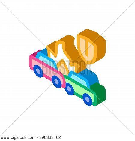 Car Accident Crash Insurance Icon Vector. Isometric Car Accident Crash Insurance Sign. Color Isolate