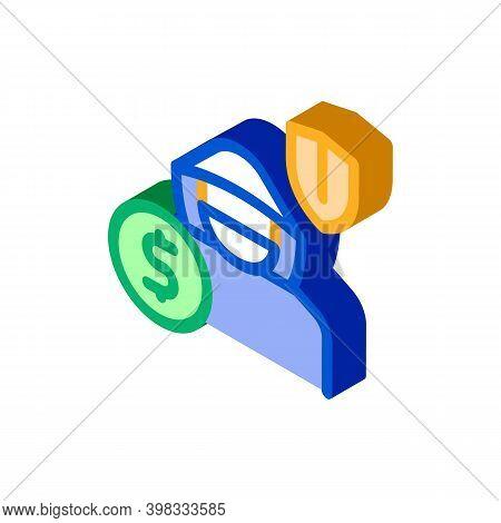 Anti Thief Insurance Icon Vector. Isometric Anti Thief Insurance Sign. Color Isolated Symbol Illustr