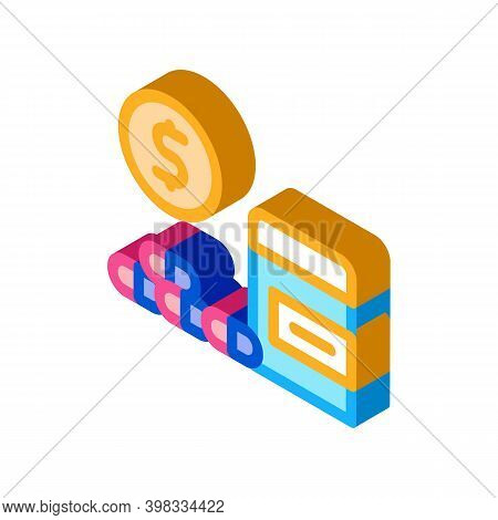 Medicaments Buy Icon Vector. Isometric Medicaments Buy Sign. Color Isolated Symbol Illustration