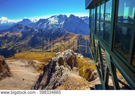 Observation platform in the mountains. Pordoi is a mountain pass of the Dolomites. Dolomites in the snow. South Tyrol. Italy - Austria