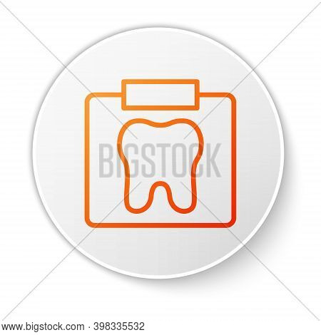 Orange Line X-ray Of Tooth Icon Isolated On White Background. Dental X-ray. Radiology Image. White C