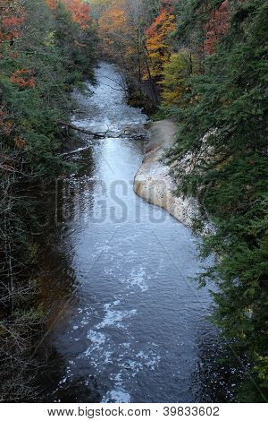 Gorgeous view of river,rock and foliage