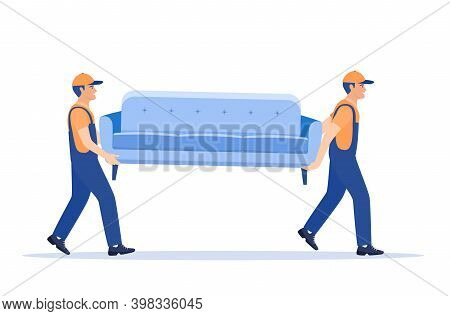 Delivery Character Man Movers Carry Sofa. Two Porters Carry Couch Isolated. Moving Company With Load