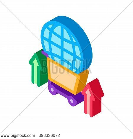 International Selling Partnership Sphere In Market Cart Icon Vector. Isometric International Selling