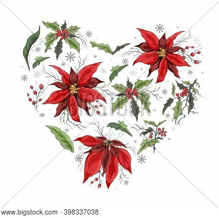 Set Of Winter Flowers (poinsettia, White Mistletoe, Holly) In The Shape Of A Heart. Realistic Hand-d