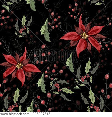 Seamless Background Of Winter Flowers (poinsettia, White Mistletoe, Holly) Isolated On A Black Backg