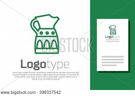 Green Line Sangria Pitcher Icon Isolated On White Background. Traditional Spanish Drink. Logo Design