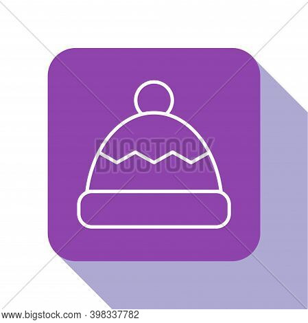 White Line Beanie Hat Icon Isolated On White Background. Purple Square Button. Vector