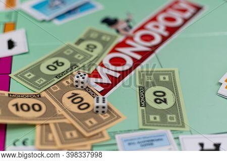 Kiev, Ukraine - December 6, 2020: Playing Board For Game Monopoly