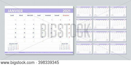 Planner 2021 Year In French. Calendar Template. Week Starts Monday. Desk Diary Grid. Yearly Statione