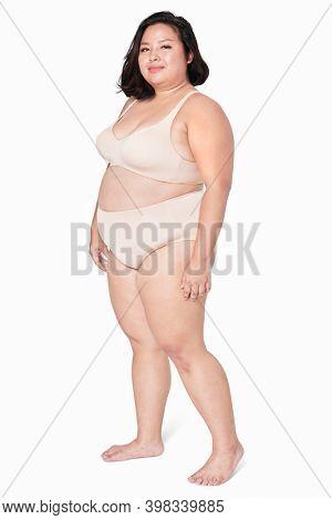 Size inclusive women's beige lingerie mockup studio shot