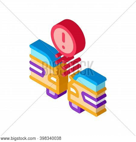 Side Spacing Car Control System Icon Vector. Isometric Side Spacing Car Control System Sign. Color I