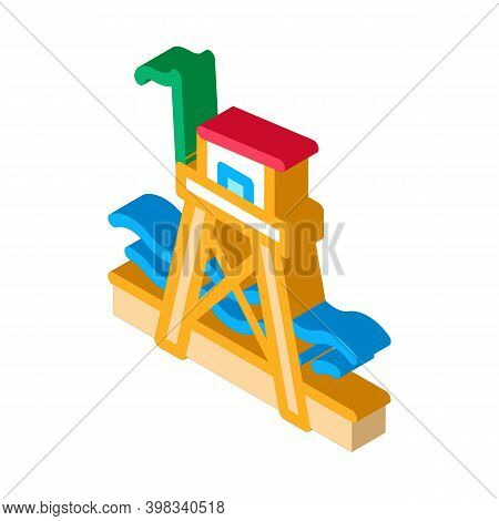 Rescue Beach Tower Icon Vector. Isometric Rescue Beach Tower Sign. Color Isolated Symbol Illustratio