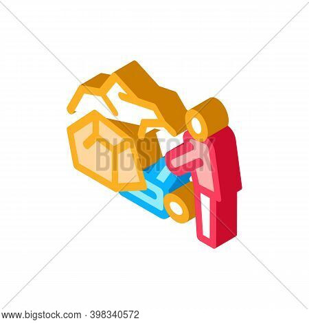 Saving Human From Rubble Icon Vector. Isometric Saving Human From Rubble Sign. Color Isolated Symbol