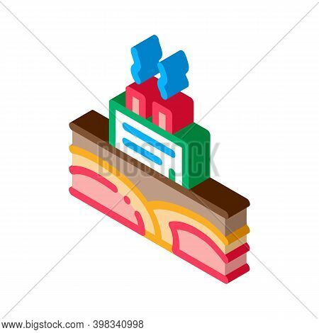 Geothermal Energy Power Plant Icon Vector. Isometric Geothermal Energy Power Plant Sign. Color Isola