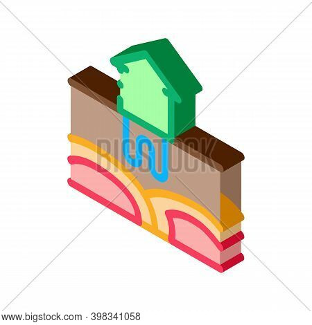 House Geothermal Heating Energy Icon Vector. Isometric House Geothermal Heating Energy Sign. Color I