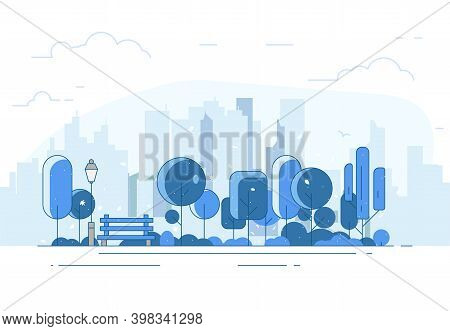 Winter Park. City Park Bench, Lawn And Trees. Flat Style Line Vector Illustration. On Background Bus