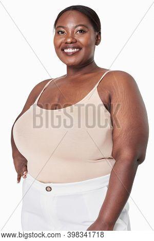 Woman's cream tank top plus size fashion mockup
