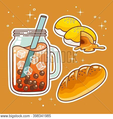 Beverages With Sweetmeats. Hand Drawn Set Collection. Vector Illustration.