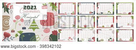 2021 Calendar Horizontal With Abstract Background. Printable Monthly Planner With Geometric Pattern.