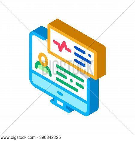 Cardio Analysis Internet Diagnosis Color Icon Vector. Isometric Cardio Analysis Internet Diagnosis S