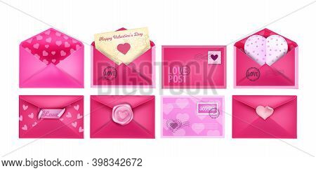 Valentine's Day Vector Love Letter Envelopes Realistic Set With Heart-shaped Postcards, Sealing Wax.