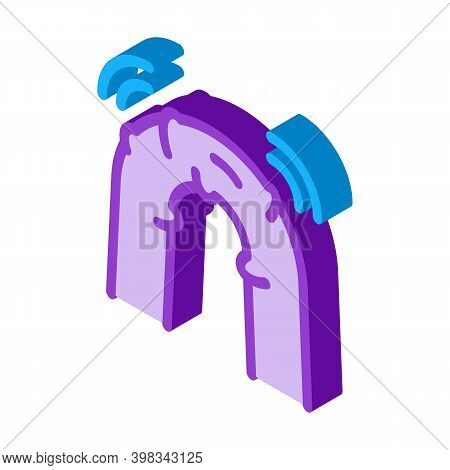 Flexible Insulation Bursts Optical Fiber Color Icon Vector. Isometric Flexible Insulation Bursts Opt